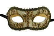 Laser Cut Venetian Halloween Masquerade Mask Costume Extravagant and Elegant Finely Detailed Ballroom Inspired - Metallic Laced Gold Lining
