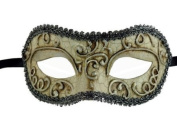 Laser Cut Venetian Halloween Masquerade Mask Costume Extravagant and Elegant Finely Detailed Ballroom Inspired - Metallic Laced White Silver Lining