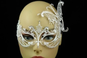Laser Cut Venetian Halloween Masquerade Mask Costume Extravagant and Elegant Finely Detailed Butterfly Inspire Design - White w/ Rhinestones