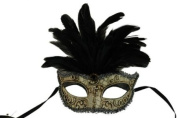 Laser Cut Venetian Halloween Masquerade Mask Costume Extravagant and Elegant Finely Detailed Feather Headdress - Black