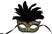 Laser Cut Venetian Halloween Masquerade Mask Costume Extravagant and Elegant Finely Detailed Feather Headdress - Black