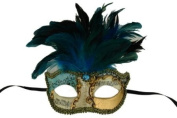 Laser Cut Venetian Halloween Masquerade Mask Costume Extravagant and Elegant Finely Detailed Feather Headdress - Blue