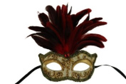 Laser Cut Venetian Halloween Masquerade Mask Costume Extravagant and Elegant Finely Detailed Feather Headdress - Red