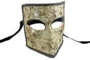 Laser Cut Venetian Halloween Masquerade Mask Costume Extravagant and Elegant Finely Detailed Gladiator Inspired - Silver Lining