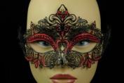 Laser Cut Venetian Halloween Masquerade Mask Costume Extravagant and Elegant Finely Detailed Inspire Design - Black w/ Red Rhinestones