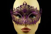Laser Cut Venetian Halloween Masquerade Mask Costume Extravagant and Elegant Finely Detailed Inspire Design - Purple w/ Rhinestones