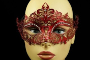 Laser Cut Venetian Halloween Masquerade Mask Costume Extravagant and Elegant Finely Detailed Inspire Design - Red w/ Rhinestones