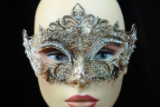 Laser Cut Venetian Halloween Masquerade Mask Costume Extravagant and Elegant Finely Detailed Inspire Design - Silver w/ Rhinestones