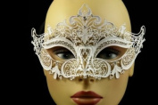 Laser Cut Venetian Halloween Masquerade Mask Costume Extravagant and Elegant Finely Detailed Inspire Design - White w/ Rhinestones