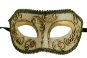Laser Cut Venetian Halloween Masquerade Mask Costume Extravagant and Elegant Finely Detailed Mystic Ballroom Inspired - Gold Lining