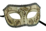 Laser Cut Venetian Halloween Masquerade Mask Costume Extravagant and Elegant Finely Detailed Mystic Ballroom Inspired - Silver Lining