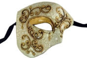 Laser Cut Venetian Halloween Masquerade Mask Costume Extravagant and Elegant Finely Detailed Phamtom Inspired - Gold Lining