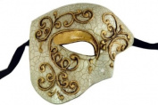 Laser Cut Venetian Halloween Masquerade Mask Costume Extravagant and Elegant Finely Detailed Phamtom Inspired - Gold Lining