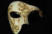 Laser Cut Venetian Halloween Masquerade Mask Costume Extravagant and Elegant Finely Detailed Phamtom Opera Ballroom Inspired - Gold Lining Dark Shaded