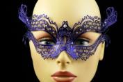 Laser Cut Venetian Halloween Masquerade Mask Costume Extravagant and Elegant Inspire Design - Blue w/ Rhinestones