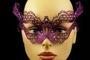 Laser Cut Venetian Halloween Masquerade Mask Costume Extravagant and Elegant Inspire Design - Purple w/ Rhinestones
