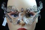 Laser Cut Venetian Halloween Masquerade Mask Costume Extravagant and Elegant Inspire Design - Silver w/ Rhinestones