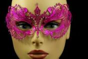 Laser Cut Venetian Halloween Masquerade Mask Costume Extravagant Inspire Design - Hot Pink w/ Rhinestones