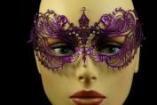 Laser Cut Venetian Halloween Masquerade Mask Costume Extravagant Inspire Design - Purple w/ Rhinestones