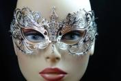 Laser Cut Venetian Halloween Masquerade Mask Costume Extravagant Inspire Design - Silver w/ Rhinestones