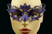 Laser Cut Venetian Halloween Masquerade Mask Costume Extravagantly Simple Inspire Design - Blue w/ Rhinestones