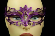 Laser Cut Venetian Halloween Masquerade Mask Costume Extravagantly Simple Inspire Design - Purple w/ Rhinestones