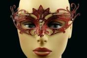 Laser Cut Venetian Halloween Masquerade Mask Costume Extravagantly Simple Inspire Design - Red w/ Rhinestones