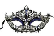 Laser Cut Venetian Masquerade Mask Costume Royal Crown Inspire Designs - Black w/ Blue Rhinestones