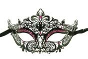 Laser Cut Venetian Masquerade Mask Costume Royal Crown Inspire Designs - Black w/ Pink Rhinestones