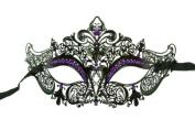 Laser Cut Venetian Masquerade Mask Costume Royal Crown Inspire Designs - Black w/ Purple Rhinestones