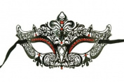 Laser Cut Venetian Masquerade Mask Costume Royal Crown Inspire Designs - Black w/ Red Rhinestones