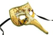 Mediaeval Plague Doctor Decorated Classic Venetian Design Laser Cut Masquerade Mask, Elegantly Detailed- Gold