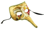 Mediaeval Plague Doctor Decorated Classic Venetian Design Laser Cut Masquerade Mask, Elegantly Detailed- Red, Black, and Yellow Chequered Pattern
