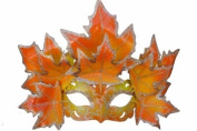 New Classic Venetian Autumn Seasonal Leaf Design Laser Cut Masquerade Mask for Mardi Gras Events or Halloween - w/ Vibrantly Decorated Orange and Yellow Leaves