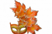 New Classic Venetian Autumn Seasonal Leaf Design Laser Cut Masquerade Mask for Mardi Gras Events or Halloween - w/ Vibrantly Decorated Side Orange Leaves