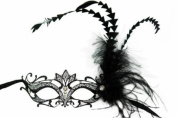 NEW Classic Venetian Design Swan Style Laser Cut Masquerade Mask - Elegantly Detailed and Decorated with Side Black Feathers