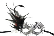 NEW Classic Venetian Intricate Design Swan Inspired Laser Cut Masquerade Mask - Elegantly Detailed and Decorated with Side Black and Red Feathers