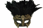 New Classic Vintage Ancient Temple Priest Ruin Mask w/ Feathers Design Laser Cut Masquerade Mask for Mardi Gras Events or Halloween - Faded Gold