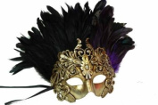 New Classic Vintage Ancient Temple Priest Ruin Mask w/ Feathers Design Laser Cut Masquerade Mask for Mardi Gras Events or Halloween - Gold