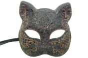 NEW Classic Vintage Venetian Feline Inspired Design Laser Cut Masquerade Mask for Mardi Gras or Halloween - Black w/ Orange Lining