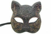 NEW Classic Vintage Venetian Feline Inspired Design Laser Cut Masquerade Mask for Mardi Gras or Halloween - Black w/ Orange Lining