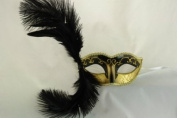 NEW Laser Cut Black Coloured Swan Feather Masquerade Halloween Ballroom Mask - Elegantly Detailed and Decorated w/ Gold Lining