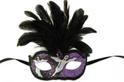 NEW Laser Cut Feather Headdress Style Masquerade Mask - Elegantly Detailed- Black and Purple w/ Black Feathers and Ghoulish Design