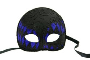NEW Laser Cut Half Skull Fit Design Masquerade Halloween Mask - Black and Blue Checker Pattern