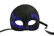 NEW Laser Cut Half Skull Fit Design Masquerade Halloween Mask - Black and Blue Checker Pattern