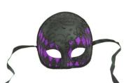 NEW Laser Cut Half Skull Fit Design Masquerade Halloween Mask - Black and Purple Checker Pattern