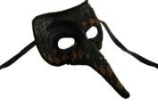 NEW Laser Cut Mediaeval Plague Doctor Face Design Halloween Mask - Black w/ Brown Checker Pattern