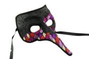 NEW Laser Cut Mediaeval Plague Doctor Face Design Halloween Mask - Black w/ Purple Checker Pattern