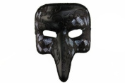 NEW Laser Cut Mediaeval Plague Doctor Face Design Masquerade Halloween Mask - Black w/ Brown Checker Pattern