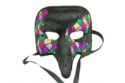 NEW Laser Cut Mediaeval Plague Doctor Face Design Masquerade Halloween Mask - Black w/ Purple Checker Pattern